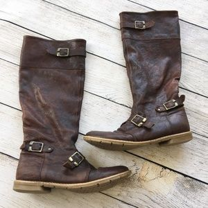 Sundance Distressed Brown Leather Buckle Boots